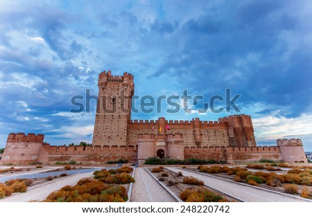 Castle of the Mota - famous old castle in Medina del Campo, Valladolid ,Castilla y Leon, Spain - stock photo