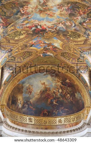 Castle of Versailles, France - Chapelle Royale, detail of ceiling decorations - stock photo