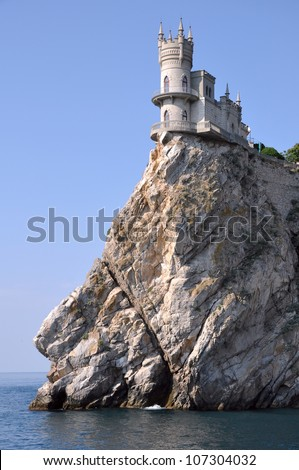 Castle on the cliff by the sea. Swallow's Nest Castle Ukraine Crimea