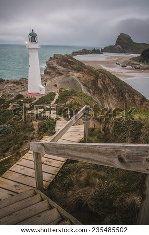 Castle Point lighthouse in New Zealand - stock photo