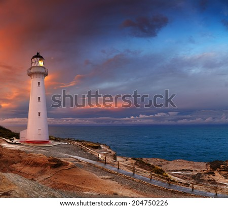 Castle Point Lighthouse, sunset, Wairarapa, New Zealand - stock photo