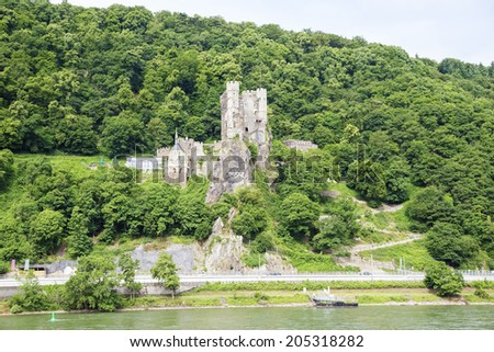 Castle Rheinstein at Rhine Valley in Germany - stock photo