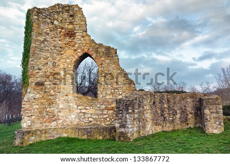 Castle Ruin/ The ruins of castle Schlossberg in Mecseknadasd Hungary - stock photo