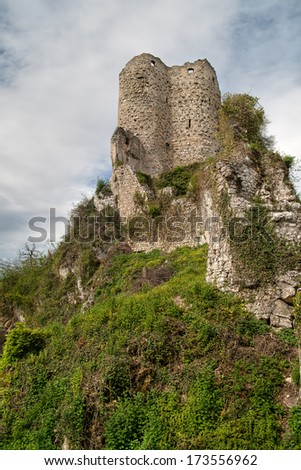 Castle ruins in Pfeffingen, Canton Baselland, Switzerland (HDR) - stock photo