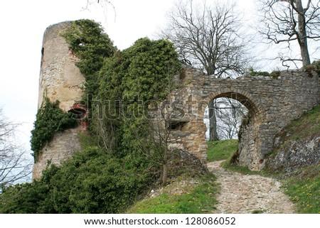 Castle ruins of Ferrette - stock photo