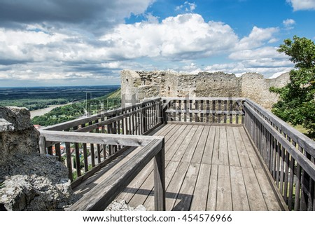 Castle ruins of Hainburg an der Donau, Austria. Ancient architecture. Travel destination. Beautiful place. Cultural heritage. - stock photo