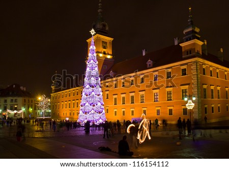 Castle Square  at night with christmas tree in the old town, Warsaw, Poland