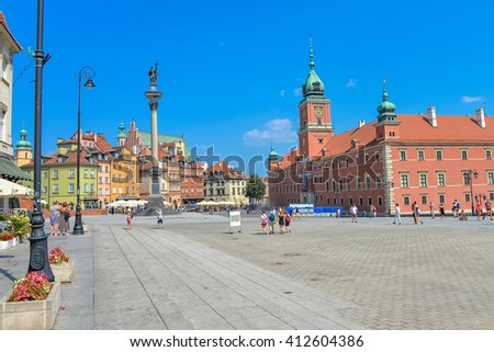 Castle Square, Warsaw in summer