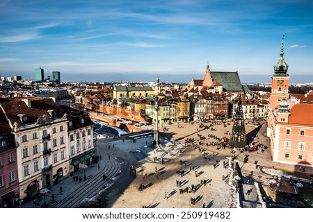 Castle Square with king's Sigismund's Column in Warsaw, Poland - stock photo