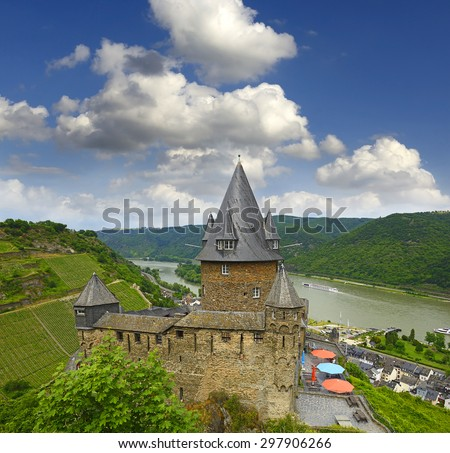 Castle Stahleck above the Rhine valley, Bacharach, Germany. Rhine Valley is UNESCO World Heritage Site - stock photo