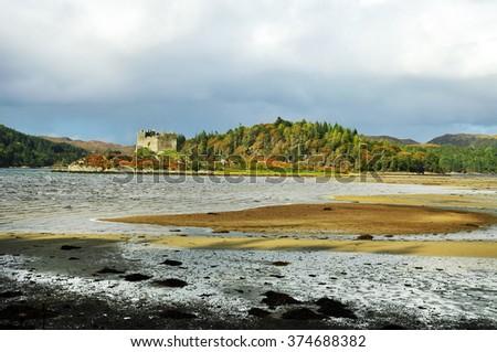 Castle Tioram that sits on the tidal island Eilean Tioram in Loch Moidart, Lochaber, Highland, Scotland - stock photo