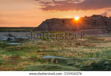 Castle Trail Sunrise - Badlands National Park in South Dakota - stock photo