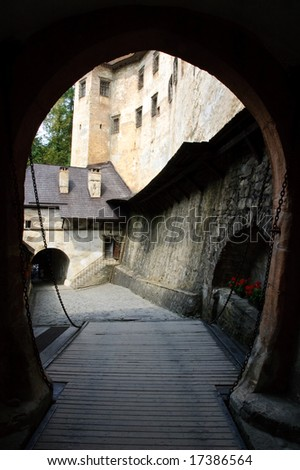 Castle view through the gate - stock photo
