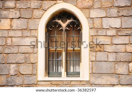Castle window - stock photo