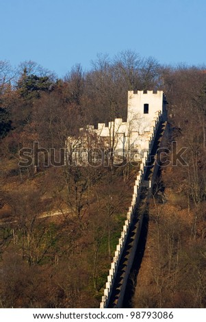 Castle with wall - stock photo