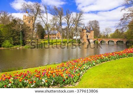 castles of Belgium -Groot-Bijgaarden with beautiful gardens - stock photo