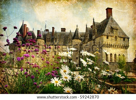 castles of France - artistic picture - stock photo