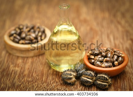 Castor beans and oil in a glass jar - stock photo