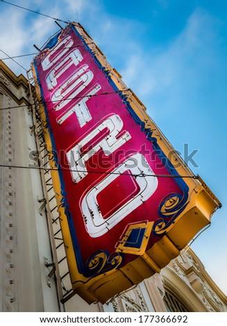 Castro Theatre Sign, Castro District, San Francisco - stock photo