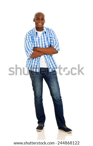 casual african man with arms crossed isolated on white - stock photo