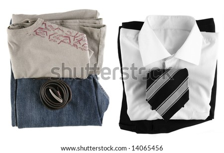 Casual and business clothing together isloated on white background. - stock photo