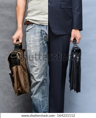Casual and formal look (closeup upper, lower garment and case) - stock photo