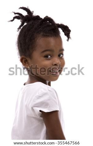 casual black girl posing on white studio background - stock photo