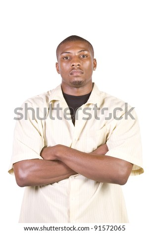 Casual Black Man posing - Isolated Background - stock photo
