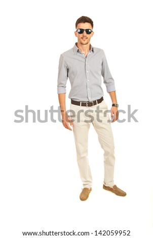 Casual business man with sunglasses isolated on white background - stock photo