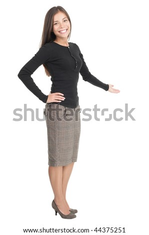 Casual businesswoman welcome gesture. Gorgeous kind looking young mixed race chinese / caucasian woman. Isolated on white background. - stock photo