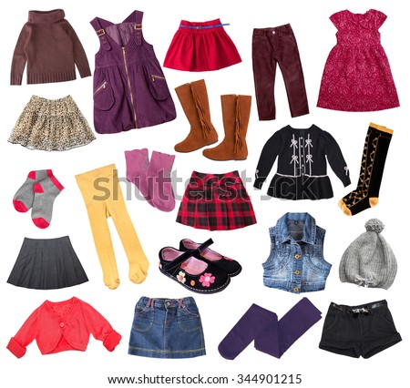 Casual Child Girl Clothes Set Isolated Stock Photo Royalty Free 344901215 Shutterstock