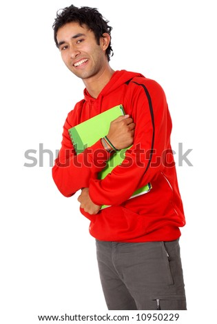 casual college student smiling and holding some notebooks isolated over a white background