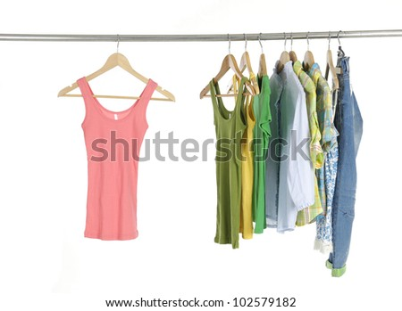 casual colorful shirts on hangers