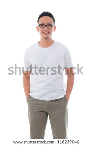 casual confident looking asian male - stock photo