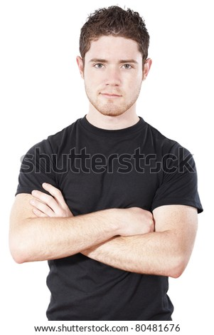 Casual  confident man standing isolated on white background