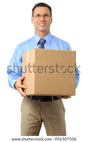 Casual Dress Businessman Holding Cardboard Box on White
