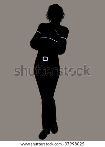 Casual dressed female silhouette on a white background - stock photo