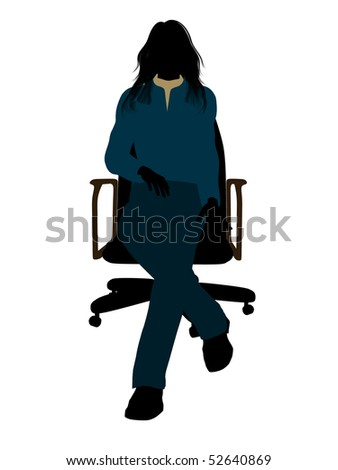 Casual dressed female sitting on a chair silhouette on a white background