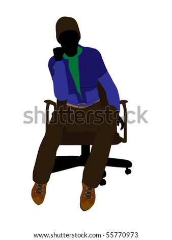 Casual dressed female sitting on an office chair silhouette on a white background