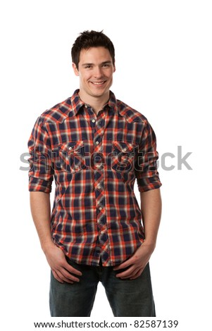 Casual Dressed Happy College Student  Isolated on White Background - stock photo
