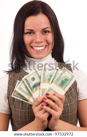 casual-dressed woman portrait showing bundles of dollars isolated on white - stock photo