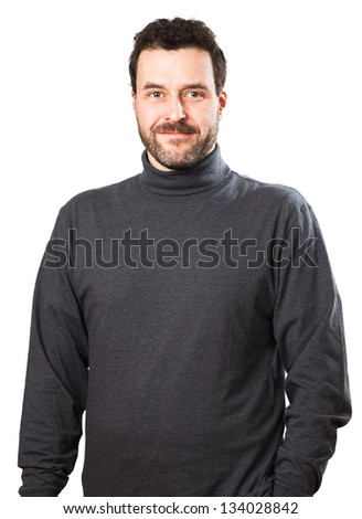 Casual European mature adult man, about 40 years old in a grey sweat shirt, smiling into the camera. Studio shot. - stock photo