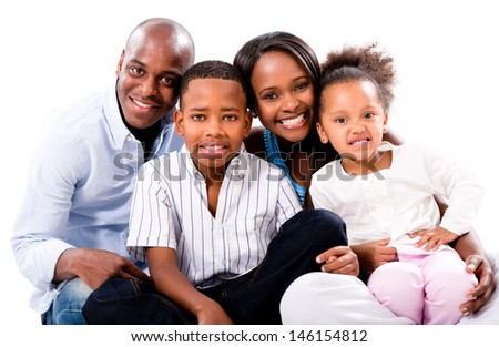 Casual family portrait smiling - isolated over a white background
