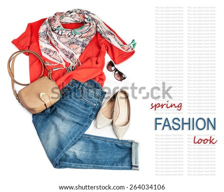 Casual fashion look for spring with jeans and bright pullover - stock photo