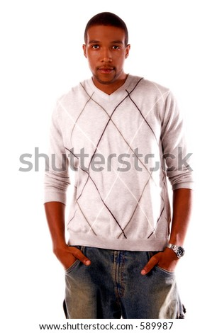 Casual Fashions on a handsome African American male model.