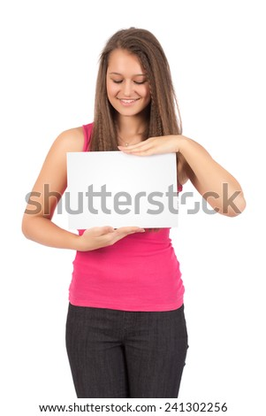 Casual Female In Pink Shirt Looking At Blank Sheet Of Paper Isolated on White Background