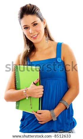 casual female student carrying notebooks and smiling over a white background