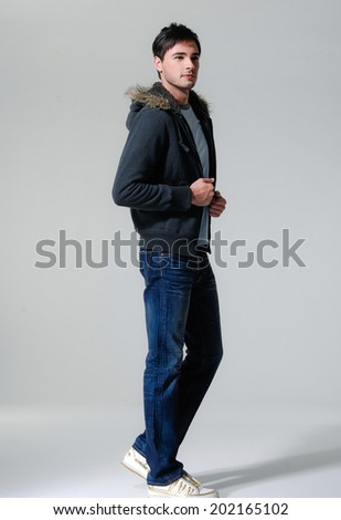 Casual friendly man portrait � isolated full body - stock photo