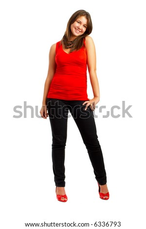 Casual Girl - Beautiful young girl isolated over white background