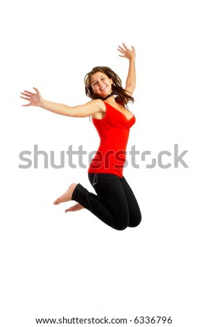 Casual Girl - Beautiful young girl isolated over white background - jumping - stock photo